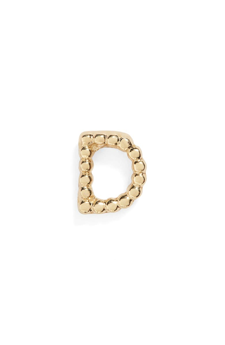 BONY LEVY Single Initial Stud Earring, Main, color, YELLOW GOLD - D