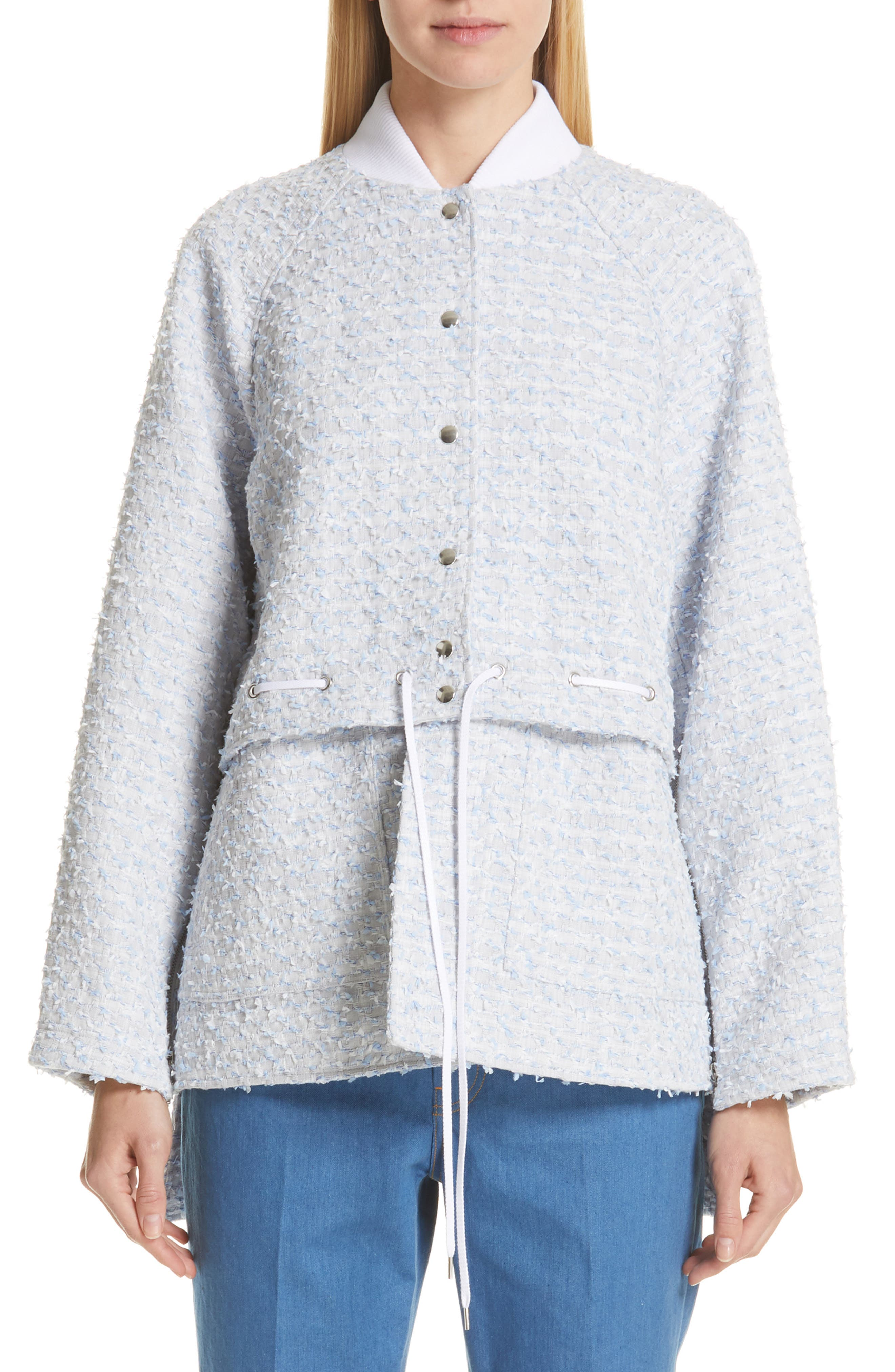 Two-Way Bomber Jacket, Main, color, STONE BLUE/ WHITE