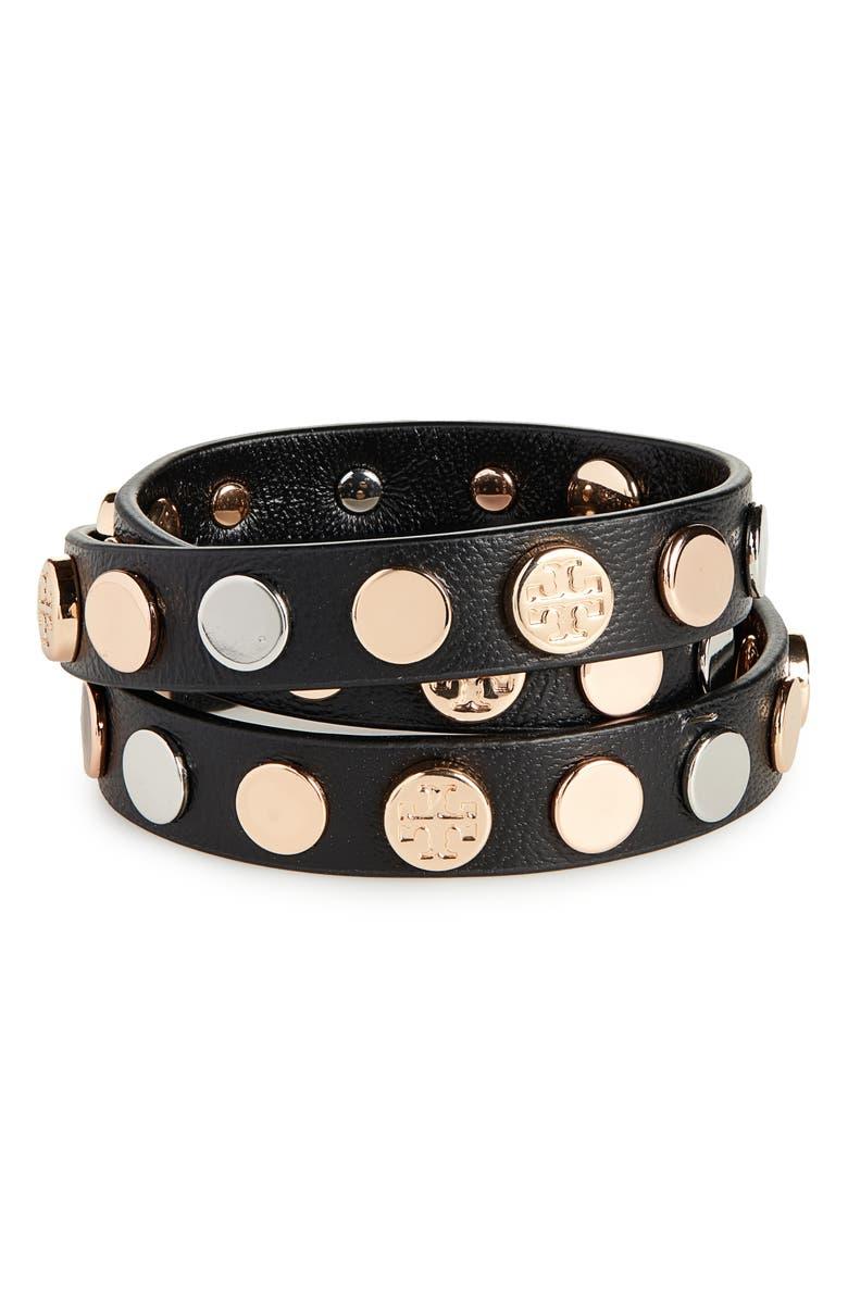 TORY BURCH Logo Triple Wrap Bracelet, Main, color, BLACK/ ROSE/ GOLD/ SILVER