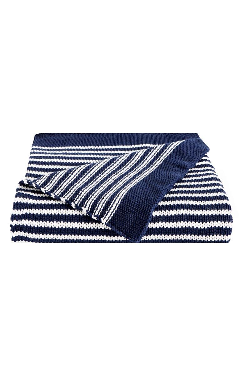 SPLENDID HOME DECOR Stripe Knit Cotton Throw, Main, color, GREY-BLUE