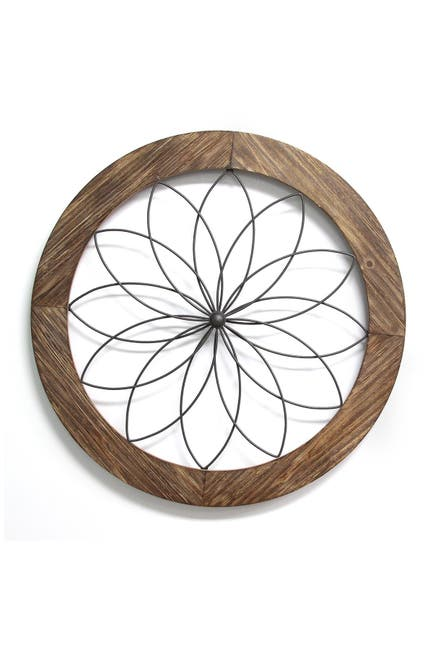 Image of Stratton Home Natural Wood/Black Medallion Wall Decor