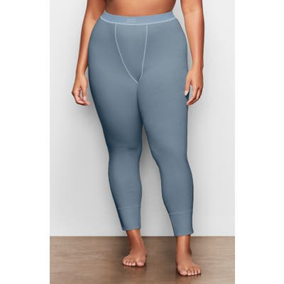 Plus Size Skims Cotton Rib Thermal Leggings, Blue/green