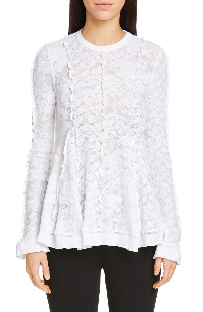 STELLA MCCARTNEY Linear Lace Peplum Top, Main, color, 100