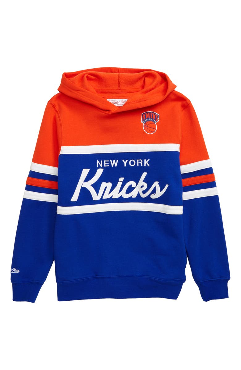 MITCHELL & NESS New York Knicks Head Coach Hoodie, Main, color, ORANGE/ BLUE