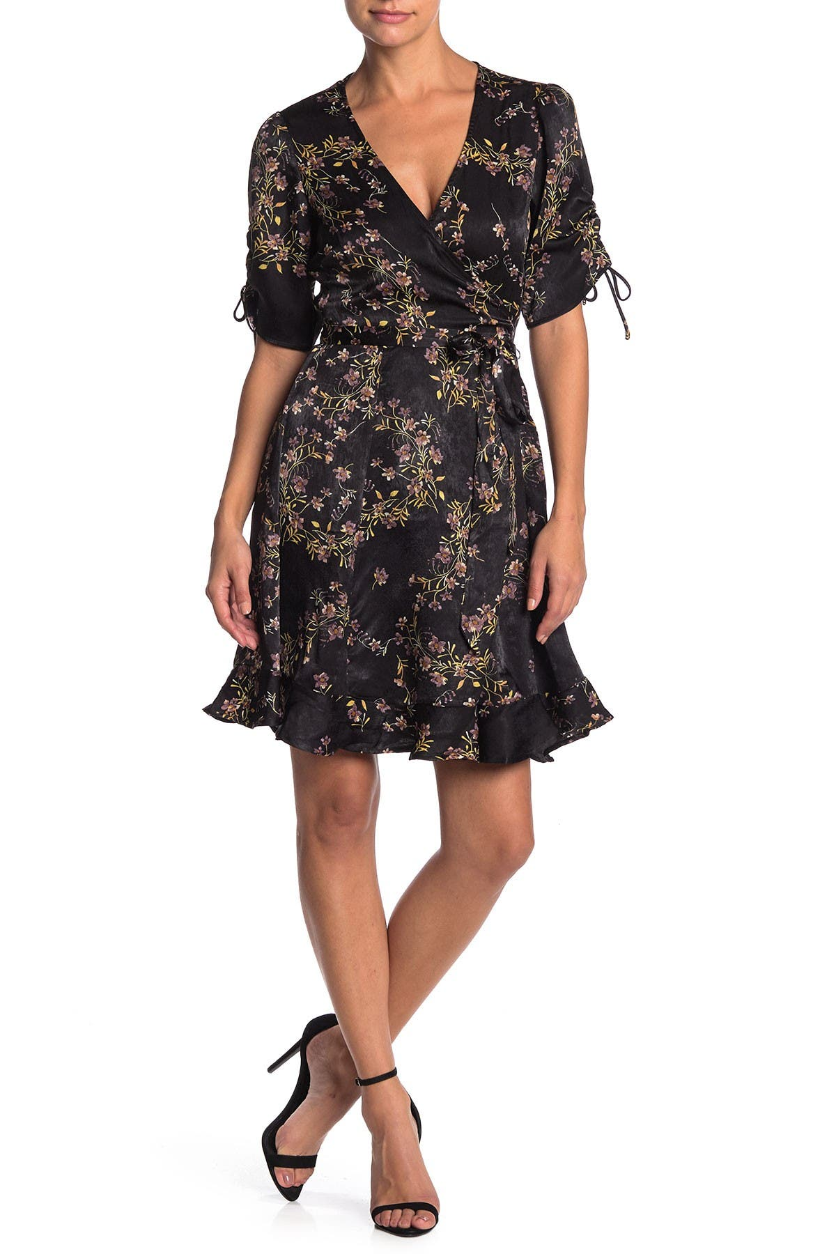 Image of Love Stitch Printed Botanical Mini Wrap Dress