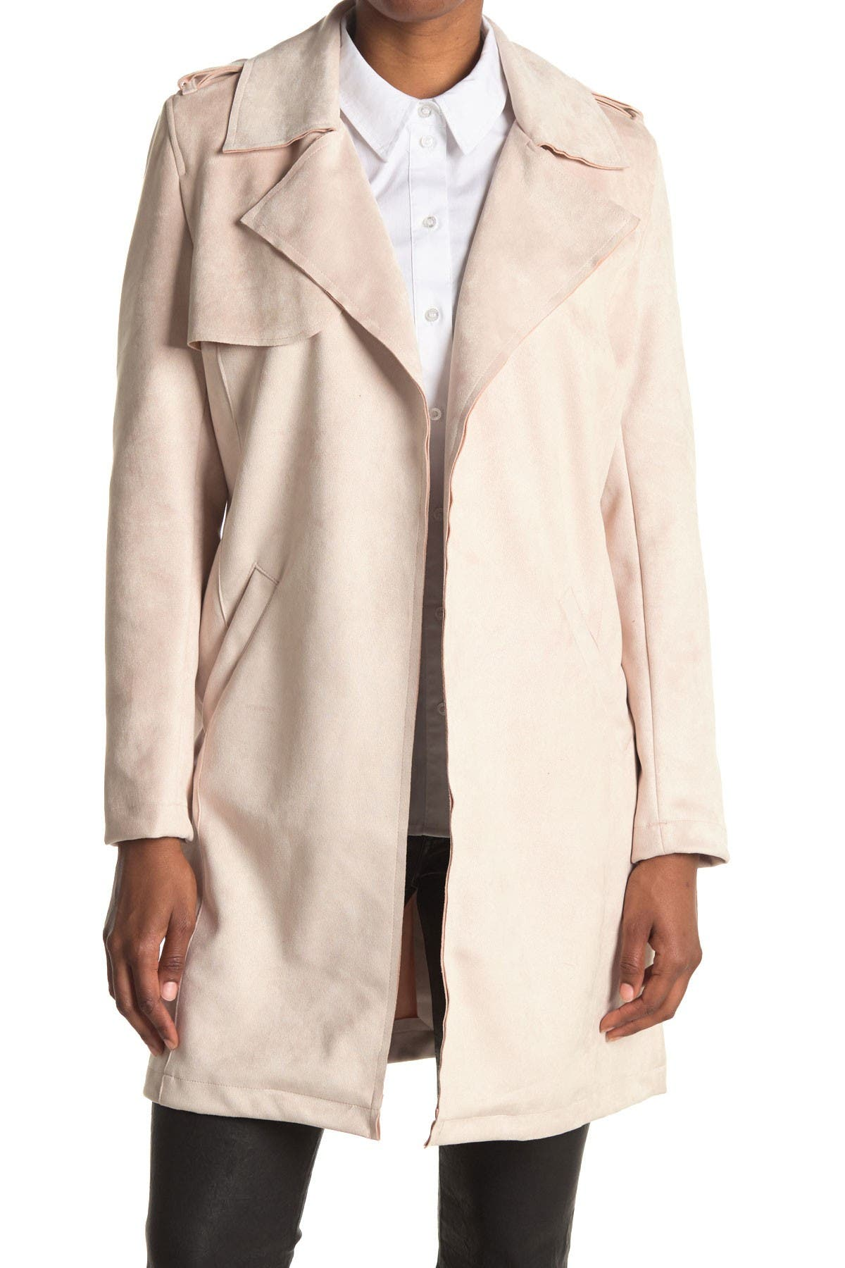 Image of OOKIE & LALA Faux Suede Trench Coat