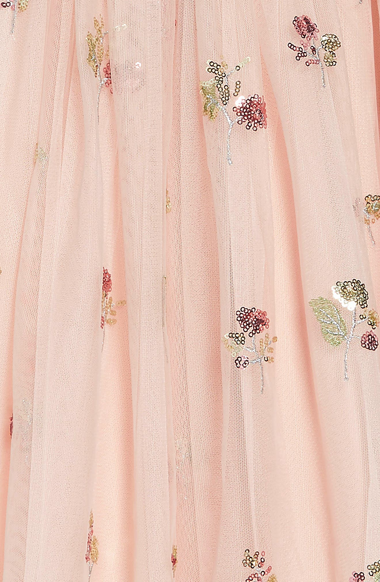 ,                             Sequin Embellished Tulle Midi Dress,                             Alternate thumbnail 4, color,                             PEACH