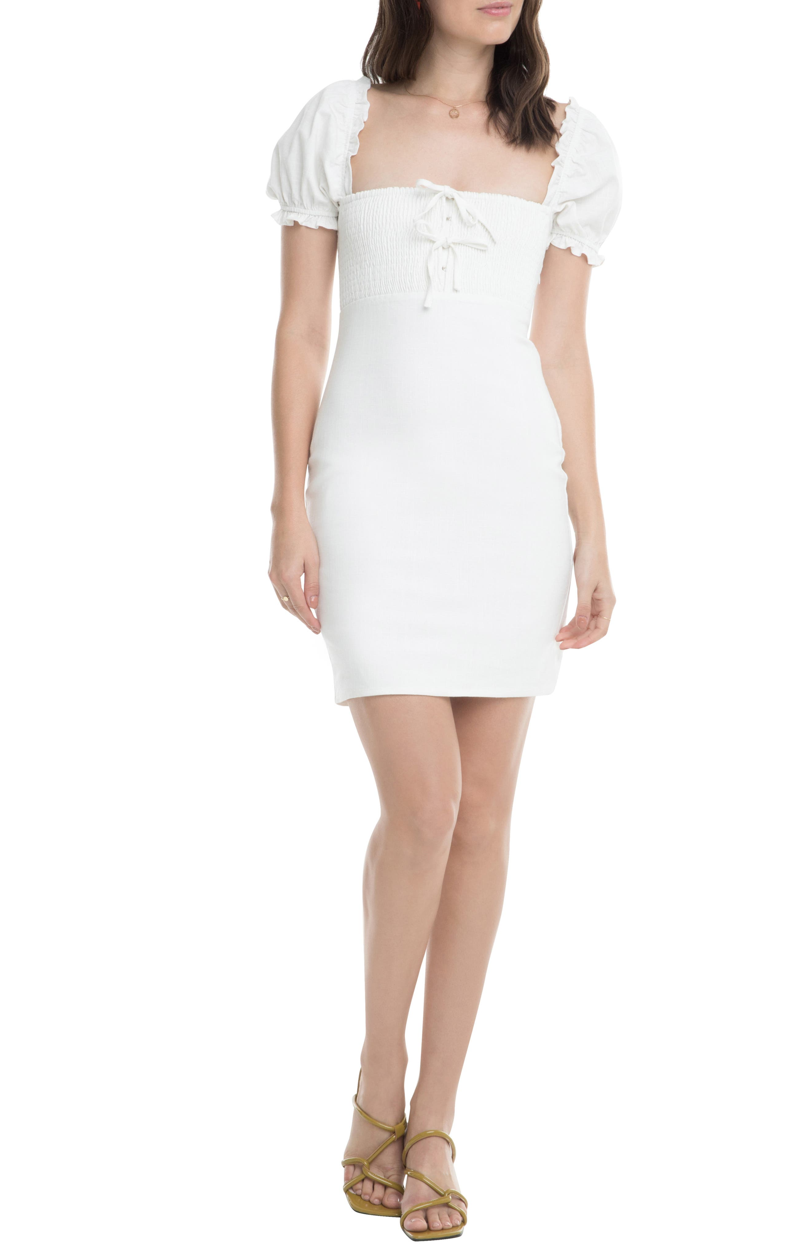 Astr The Label Bea Square Neck Minidress, White