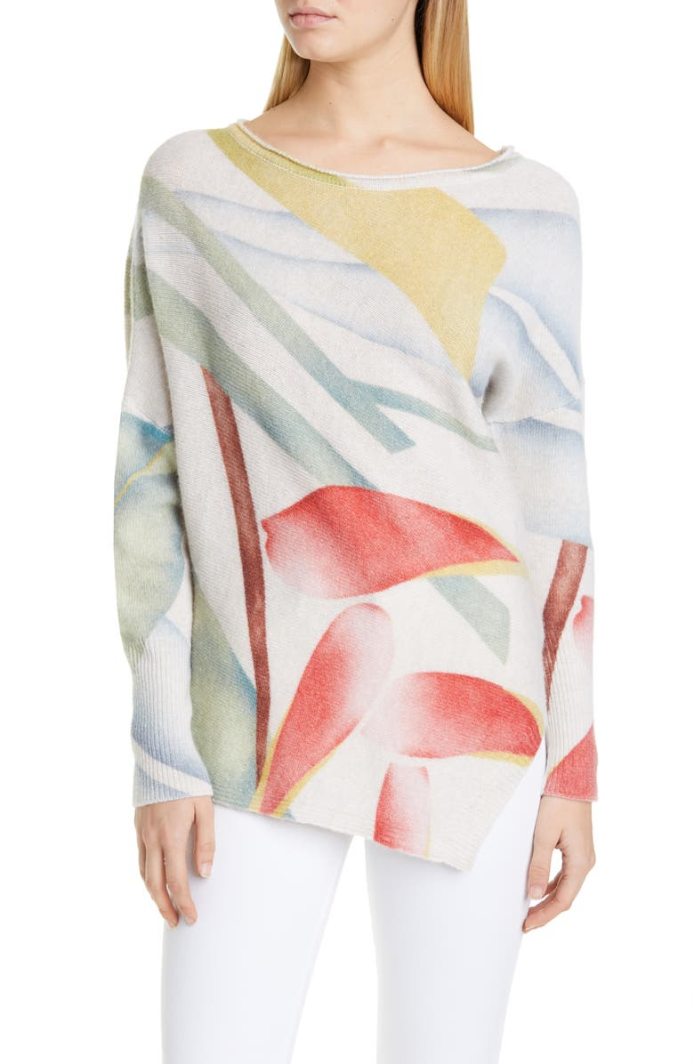 ETRO Asymmetrical Watercolor Leaf Wool Sweater, Main, color, WHITE