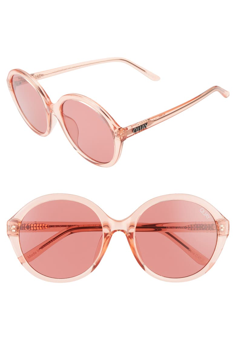 QUAY AUSTRALIA x Benefit Tinted Love 55mm Round Sunglasses, Main, color, PINK/ PINK