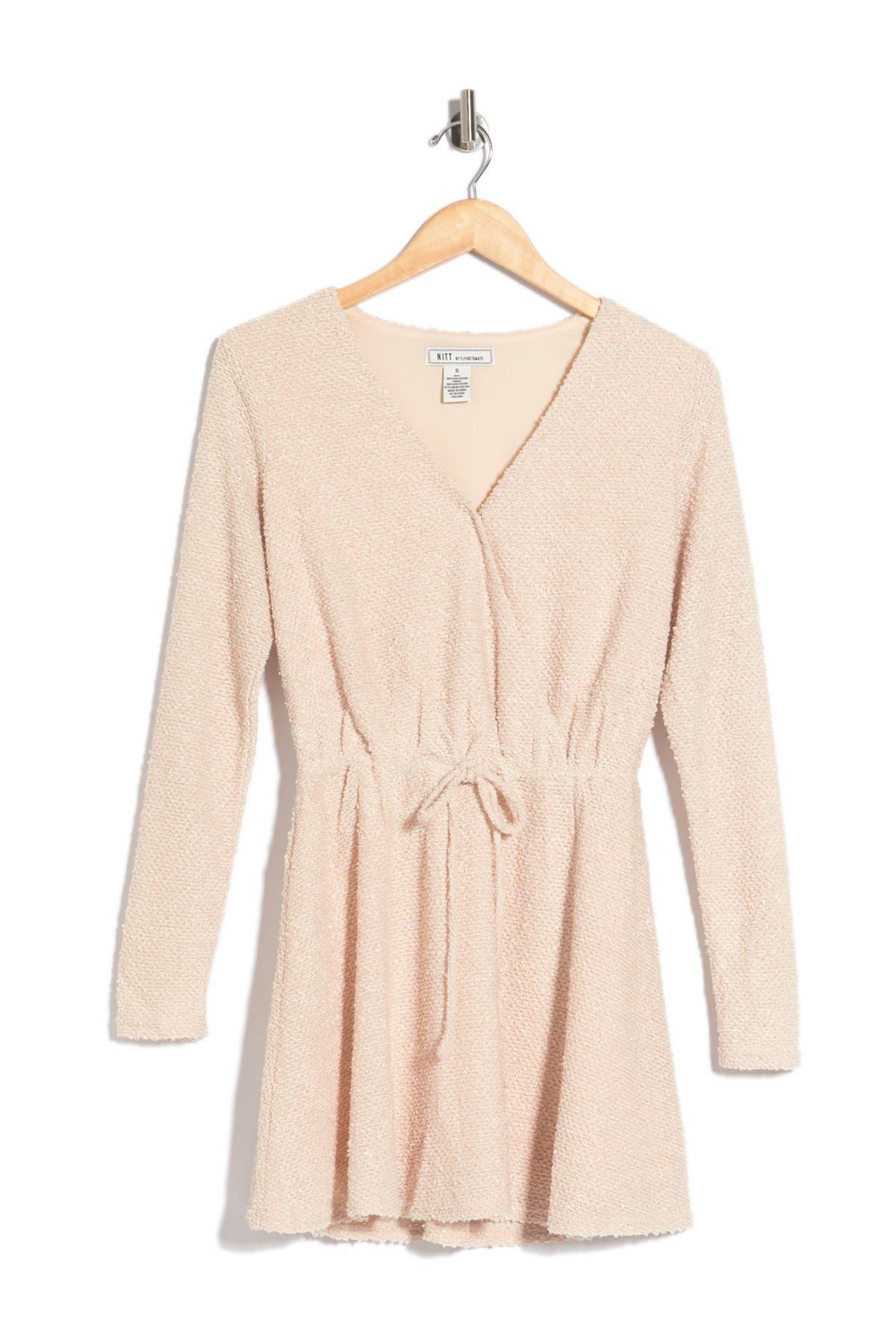 Image of A.Calin Textured Knit Long Sleeve Mini Dress