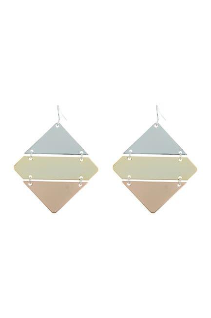 Image of AREA STARS Tri-Tone Diamond Shape Drop Earrings