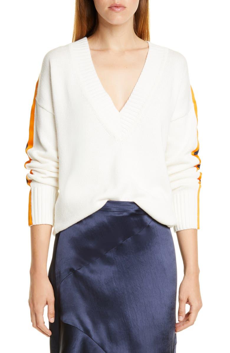 HUGO Sumala Stripe Sleeve Cotton & Cashmere Sweater, Main, color, NATURAL
