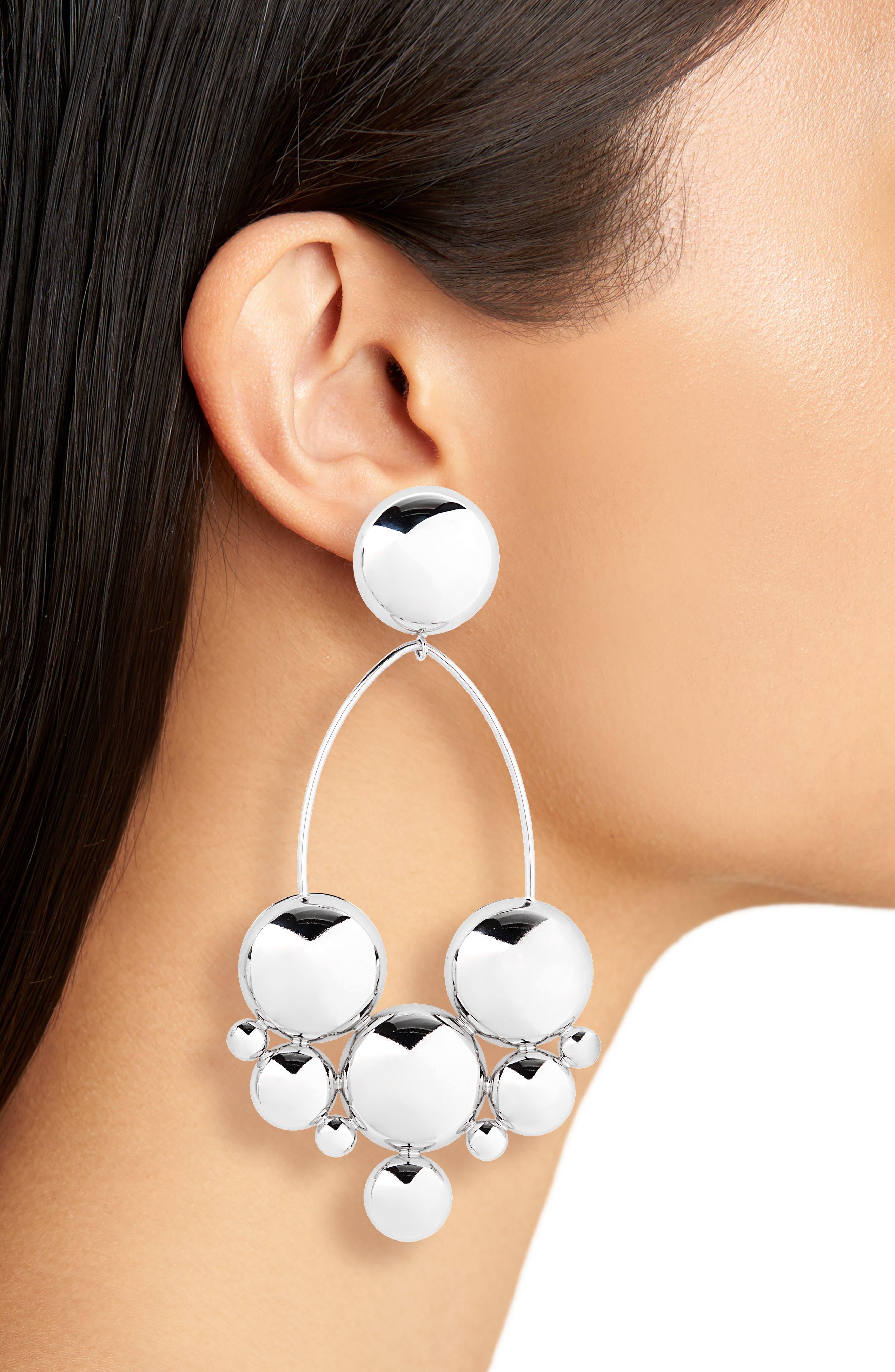 ,                             Boo Large Drop Earrings,                             Alternate thumbnail 2, color,                             SILVER