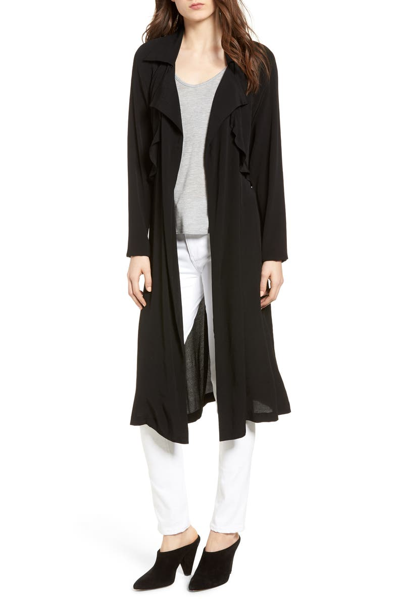 TROUVÉ Ruffle Drape Front Belted Duster Jacket, Main, color, 001
