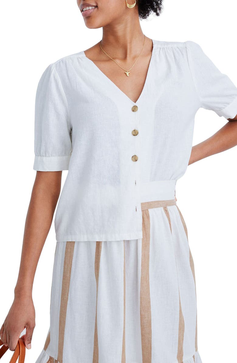 MADEWELL Plaza Button Front Linen Blend Shirt, Main, color, EYELET WHITE