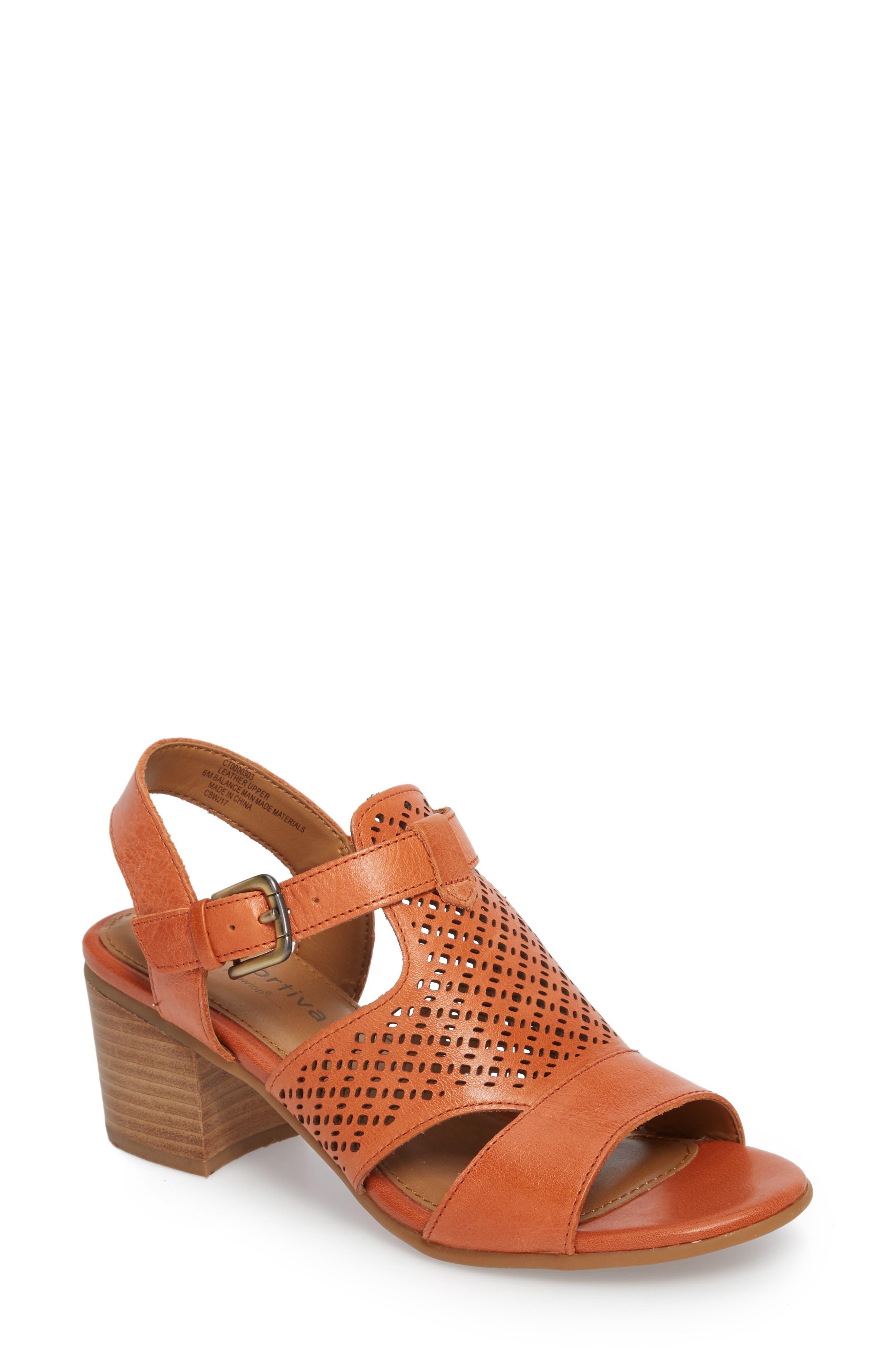 Amber Perforated Block Heel Sandal