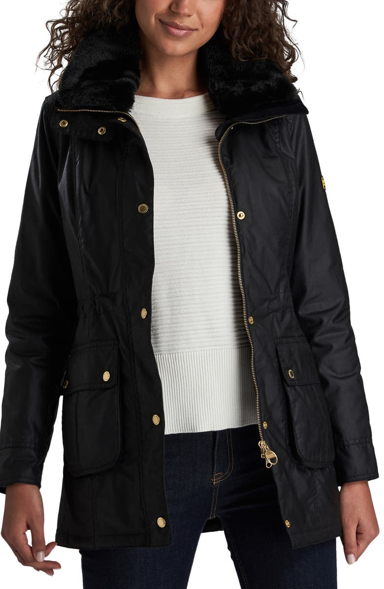 BARBOUR INTERNATIONAL Barbour B.INTL Kirk Hooded Waxed Cotton Jacket with Faux Fur Trim, Main, color, 001