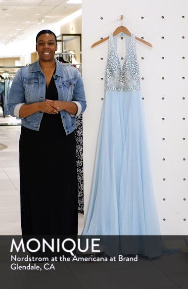 Beaded Halter Prom Dress with Slit Hem, sales video thumbnail