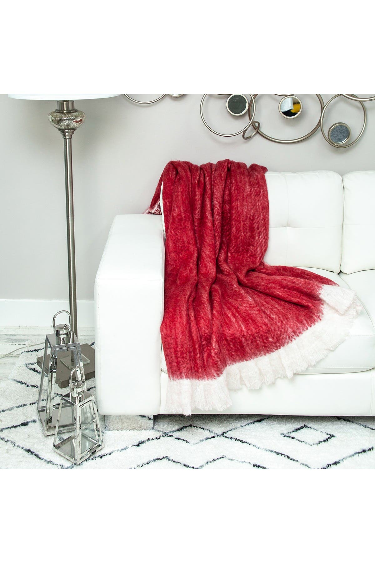 """Image of Parkland Collection Nagar Transitional Red 52"""" x 67"""" Woven Handloom Throw Blanket"""