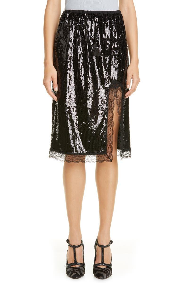 MICHAEL KORS COLLECTION Lace Trim Sequin Skirt, Main, color, BLACK