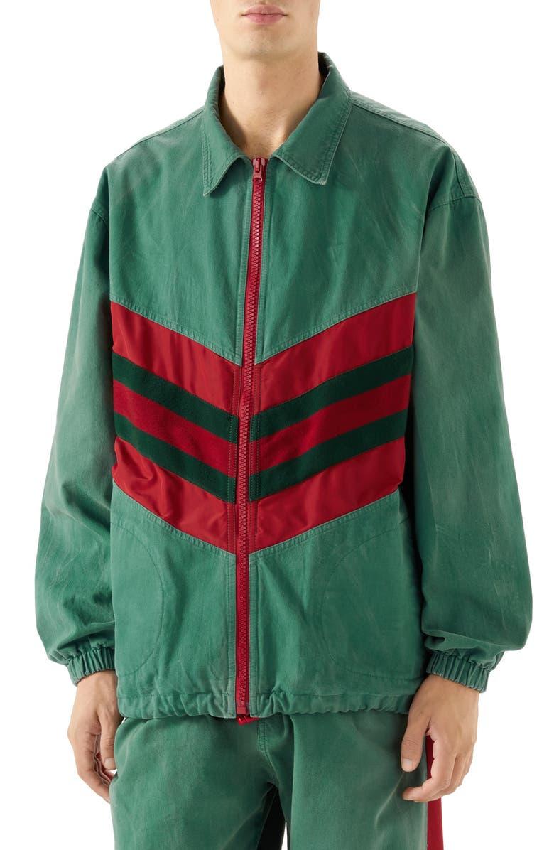 GUCCI Web Stripe Oversize Denim Jacket, Main, color, 351