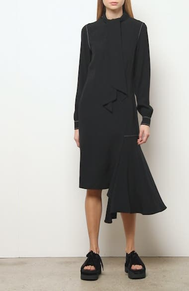 Asymmetrical Long Sleeve Satin Crepe Midi Dress, video thumbnail