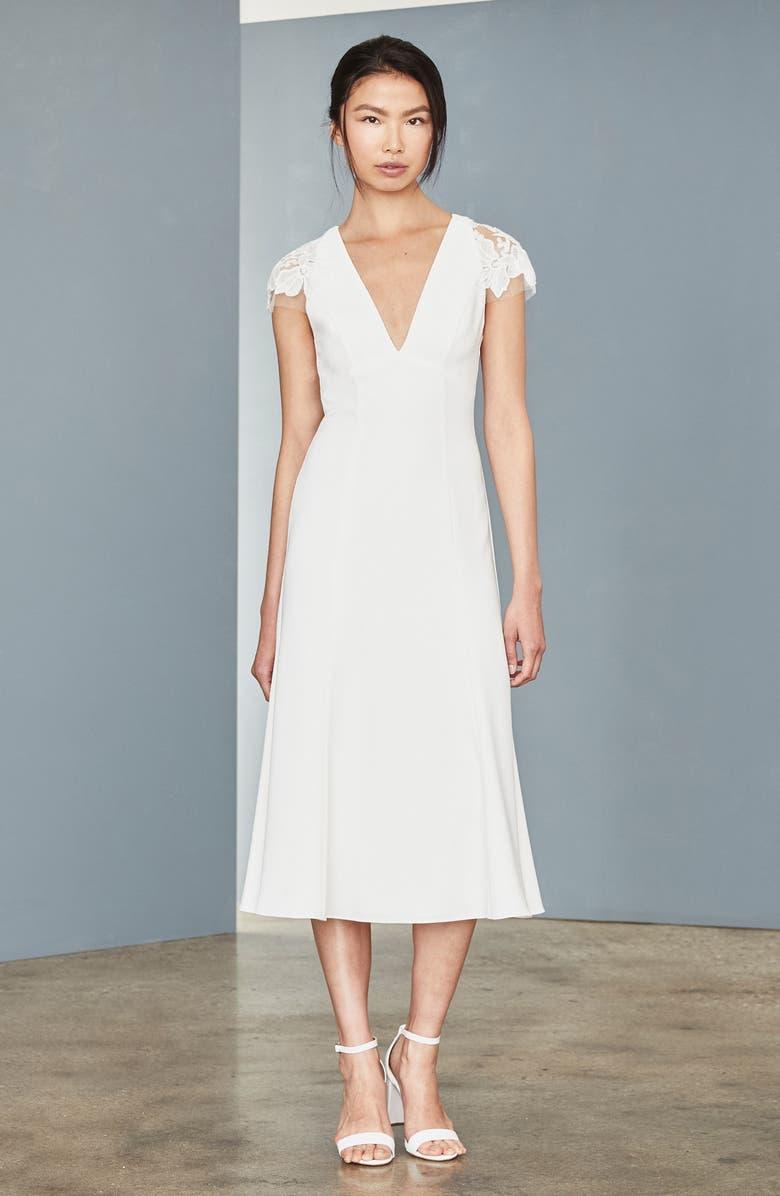 AMSALE Lace Back Tea Length Dress, Main, color, IVORY