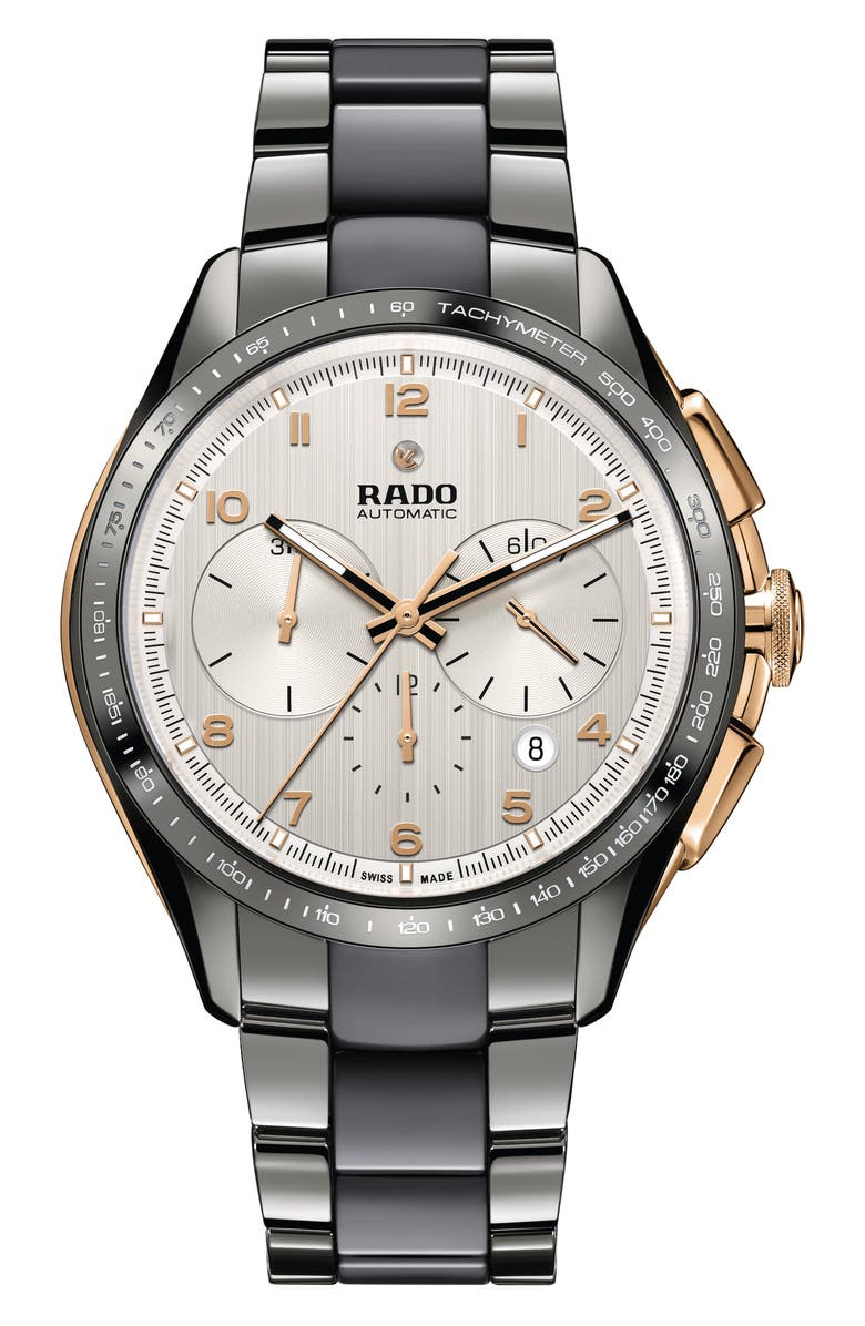 RADO HyperChrome Automatic Chronograph Bracelet Watch, 45mm, Main, color, PLASMA/ SILVER/ GOLD