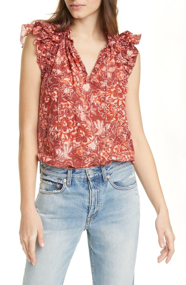 ULLA JOHNSON Rina Floral Ruffle Shoulder Blouse, Main, color, CORAL