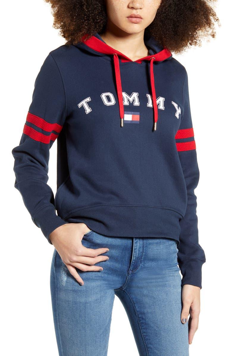 TOMMY SPORT Mesh Varsity Stripe Hoodie, Main, color, HERITAGE