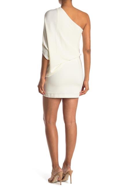 Image of HALSTON One Shoulder Asymmetrical Sleeve Dress