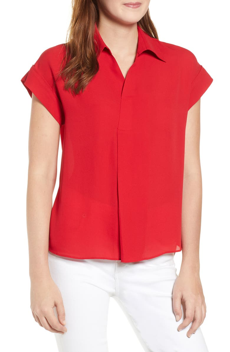 EVERLEIGH Split Neck Collared Blouse, Main, color, 600