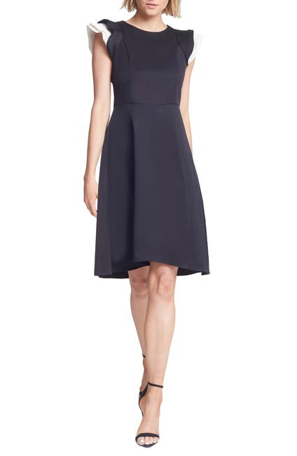 Image of Halston Heritage Contrast Ruffle Sleeve Cocktail Dress