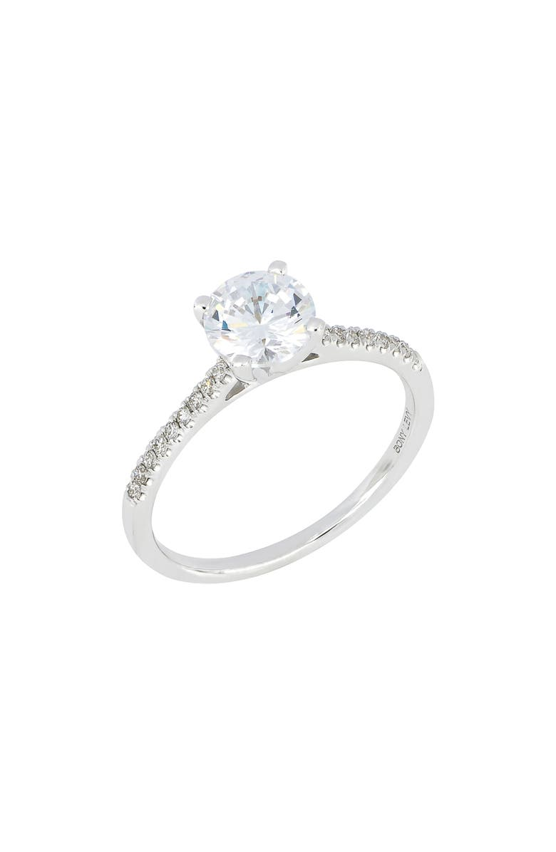 BONY LEVY Pavé Diamond Round Engagement Ring Setting, Main, color, WHITE GOLD