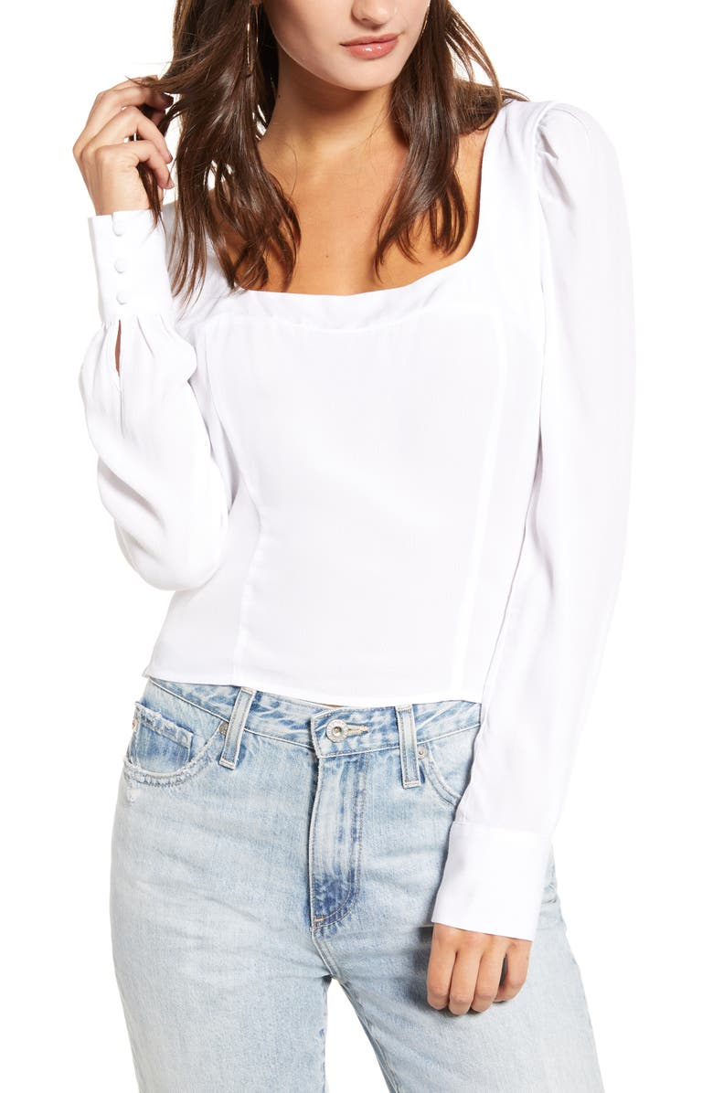 LEITH Square Neck Puff Sleeve Top, Main, color, WHITE