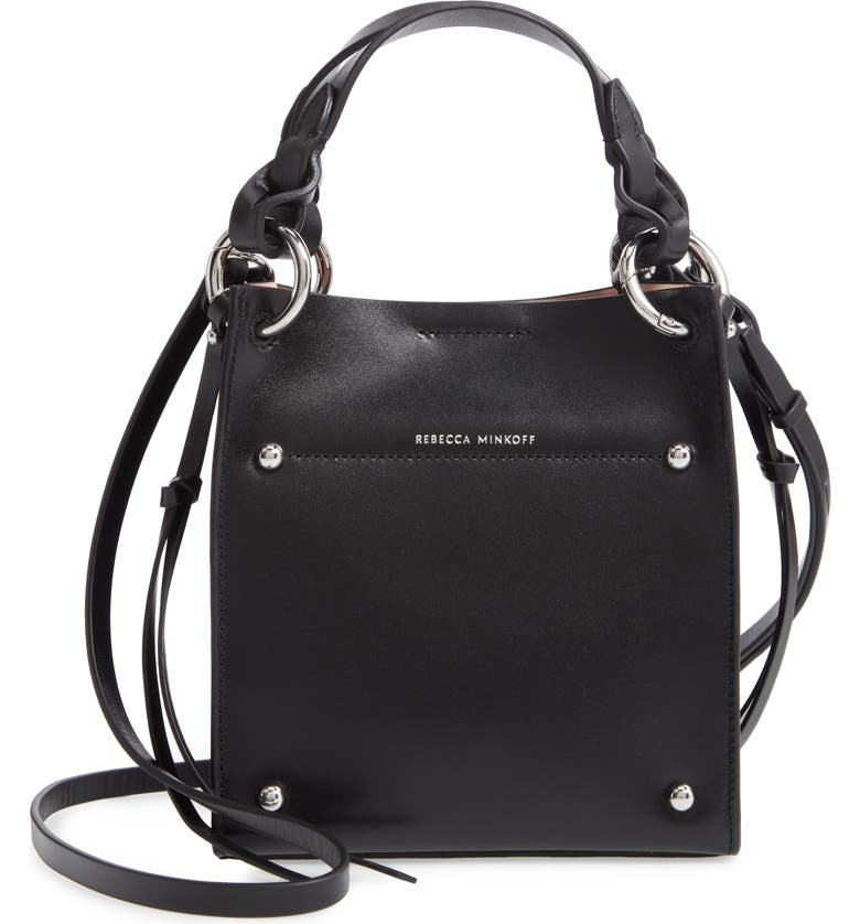 REBECCA MINKOFF Mini Kate North/South Leather Tote, Main, color, BLACK