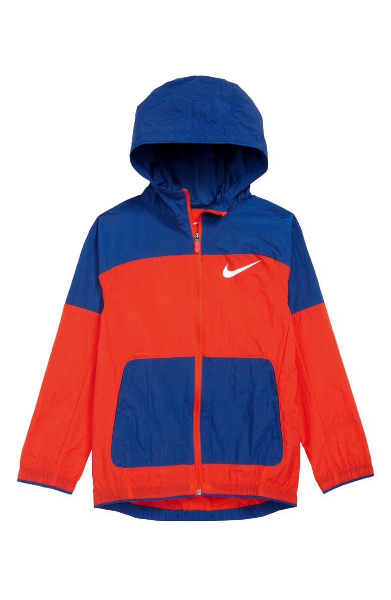 NIKE Dry Hooded Jacket, Main, color, HABANERO RED/ INDIGO FORCE