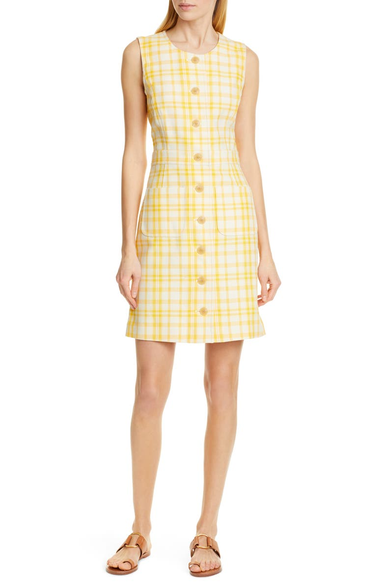 TORY BURCH Plaid Jacquard Dress, Main, color, 700