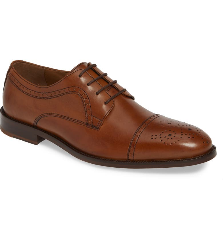 JOHNSTON & MURPHY Alredge Cap Toe Derby, Main, color, TAN LEATHER