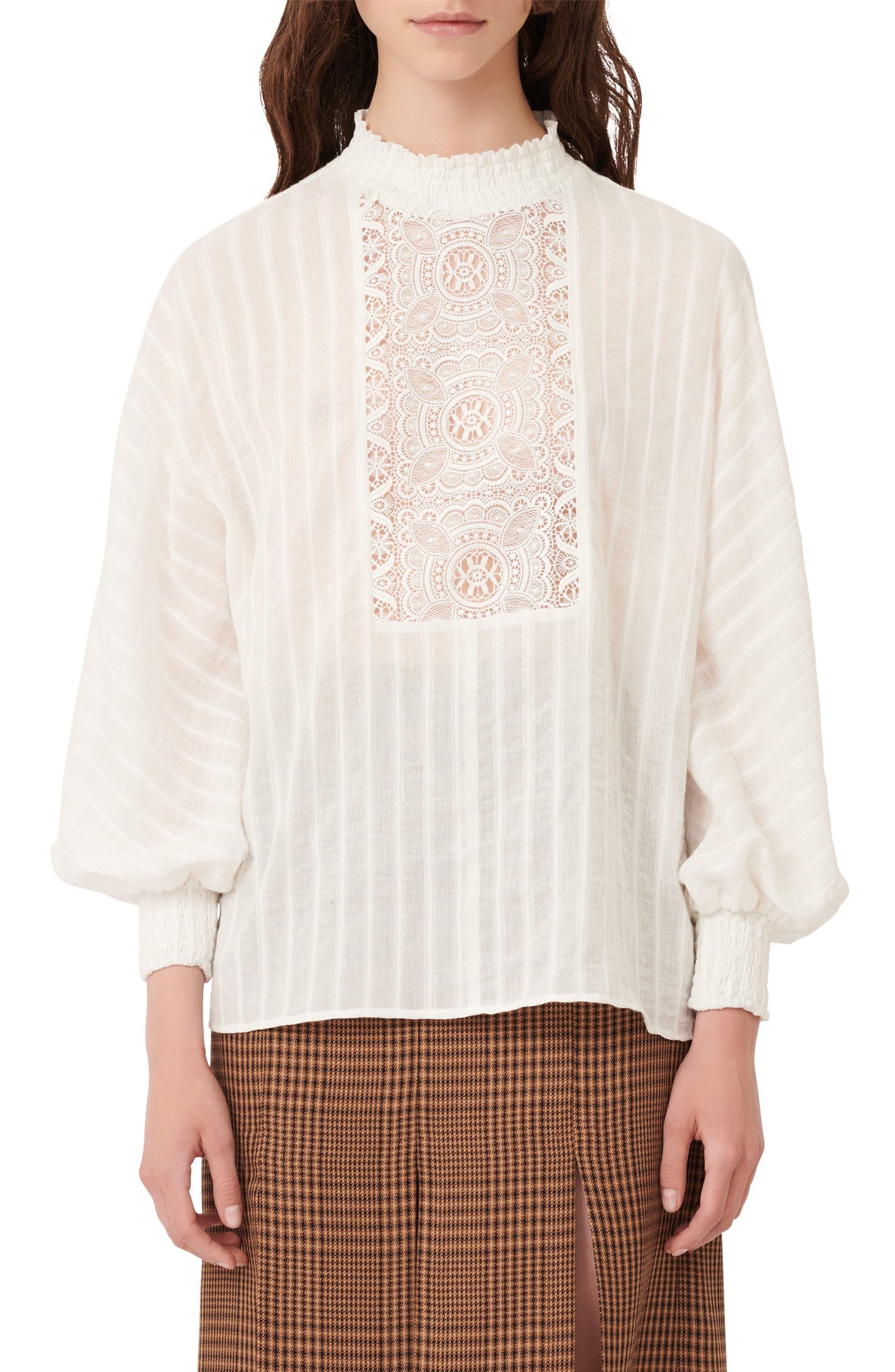 Edwardian Blouses | White & Black Lace Blouses & Sweaters Womens Maje Lace Bib Long Sleeve Blouse $177.00 AT vintagedancer.com