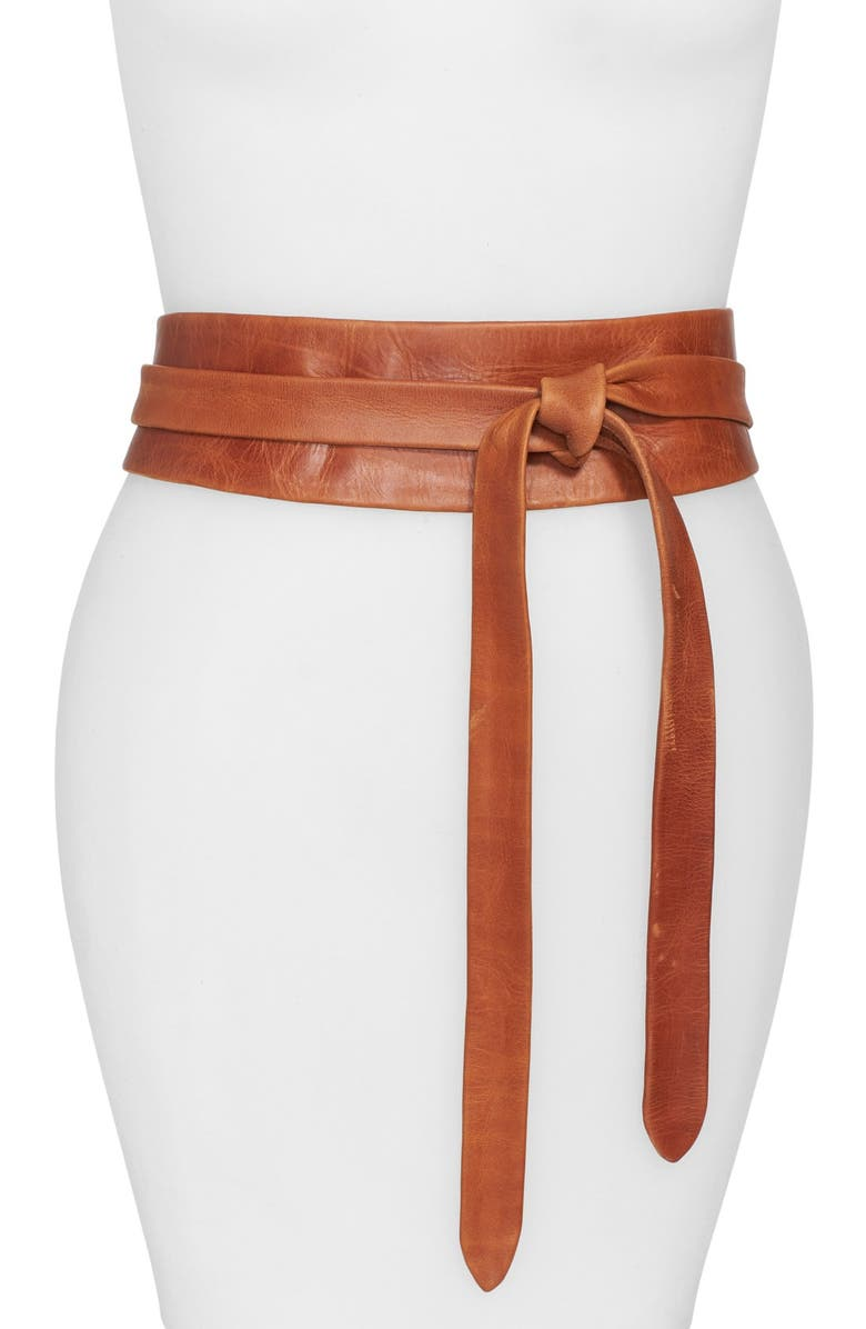 ADA Handmade Leather Wrap Belt, Main, color, COGNAC