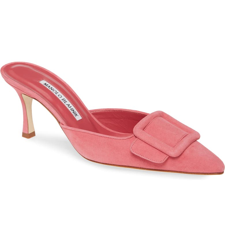 MANOLO BLAHNIK Maysalebi Buckle Pointed Toe Mule, Main, color, PINK SUEDE