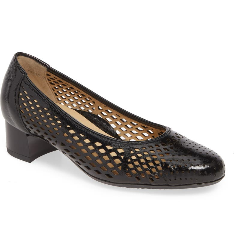 ARA Venetia Perforated Pump, Main, color, BLACK VERNICE PATENT LEATHER