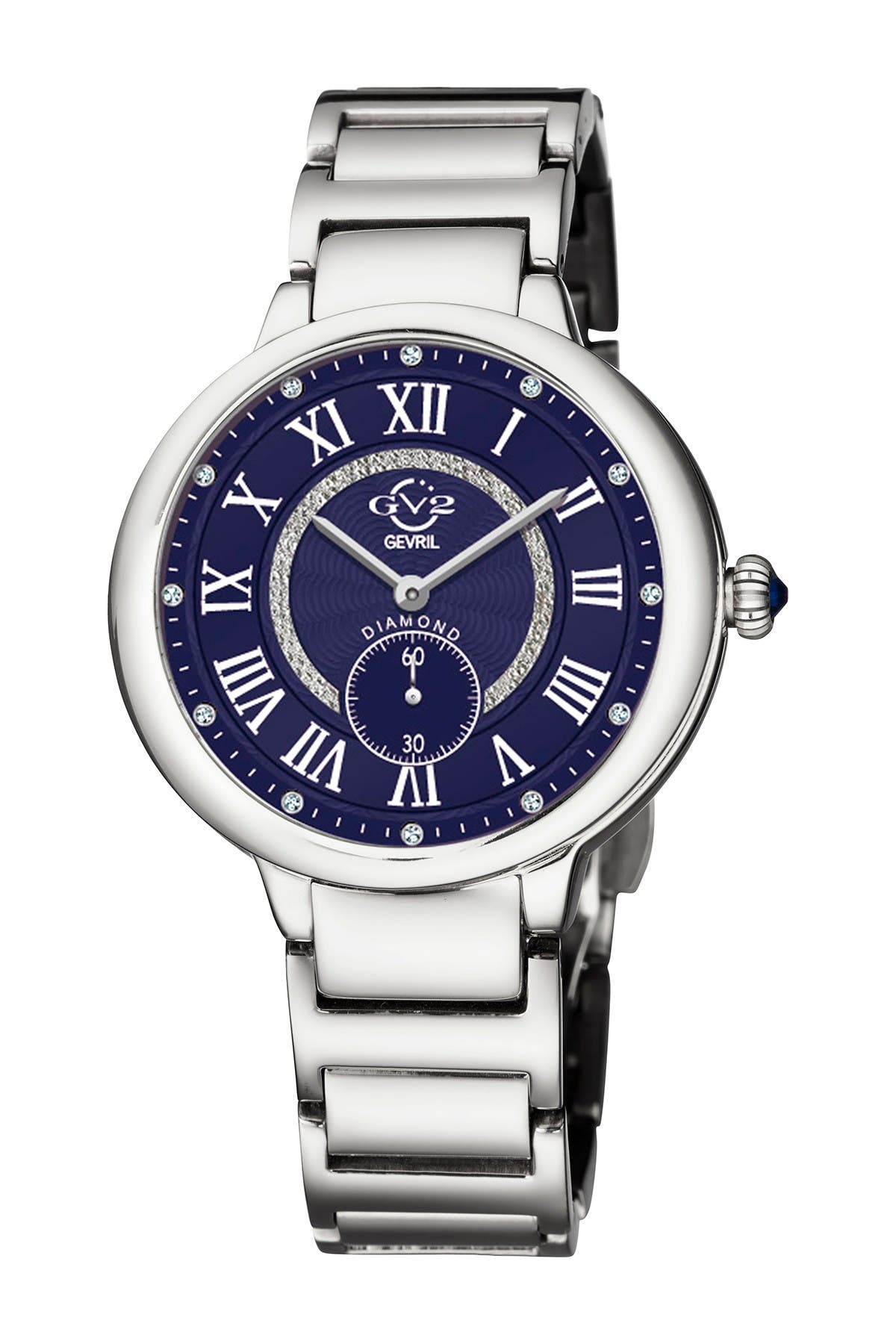 Image of Gevril Women's Rome Diamond & Silver Dial Stainless Steel Watch, 36mm - 0.057 ctw