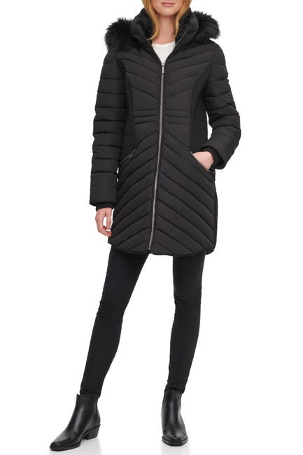 Image of DKNY Quilted Faux Fur Hood Puffer Jacket