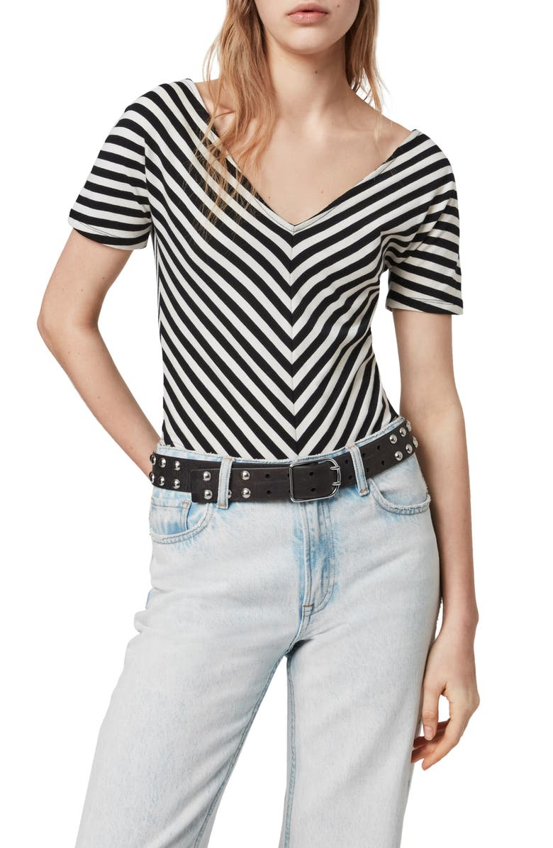 ALLSAINTS Keavey Chevron Stripe Stretch Cotton Bodysuit, Main, color, BLACK/ CHALK WHITE