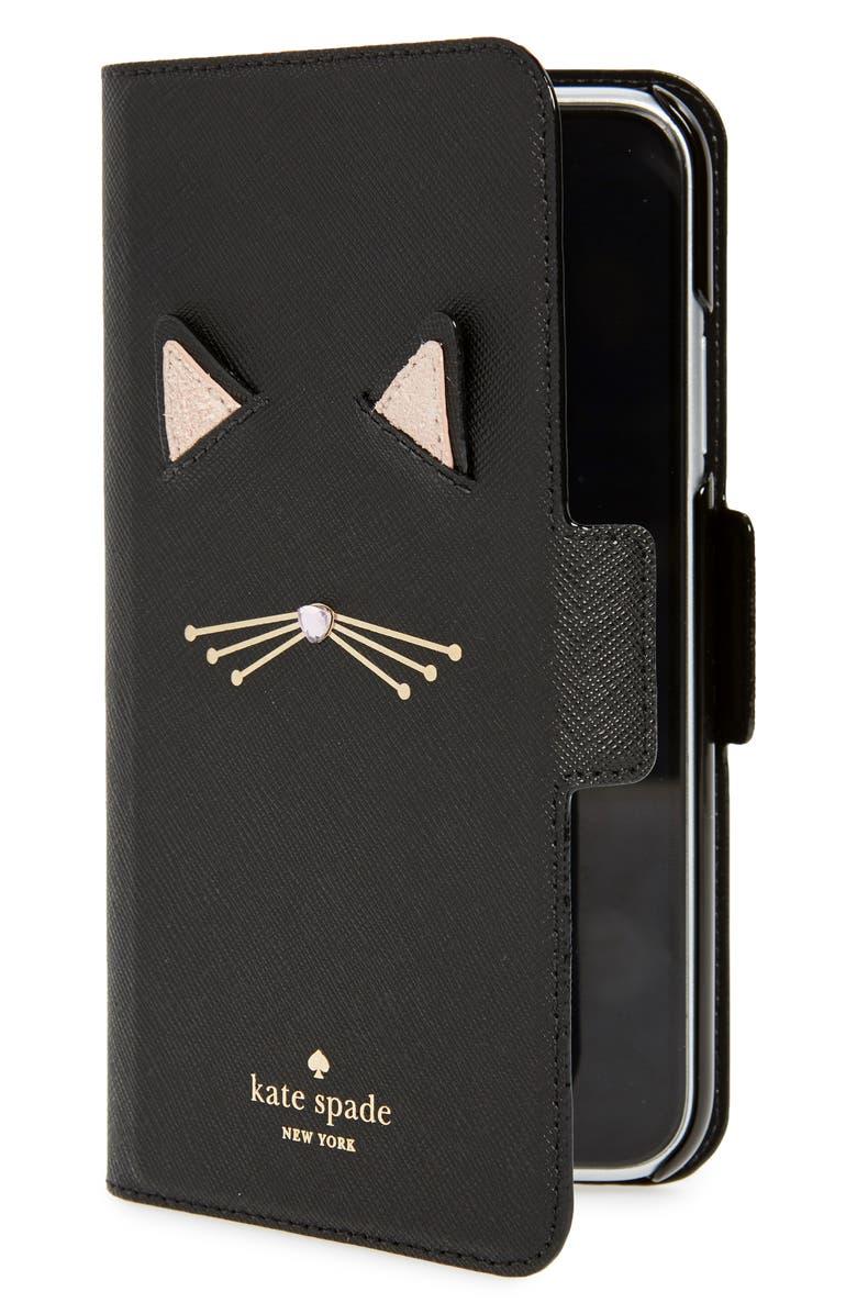 KATE SPADE NEW YORK cat iPhone X/Xs/Xs Max & XR folio, Main, color, 001