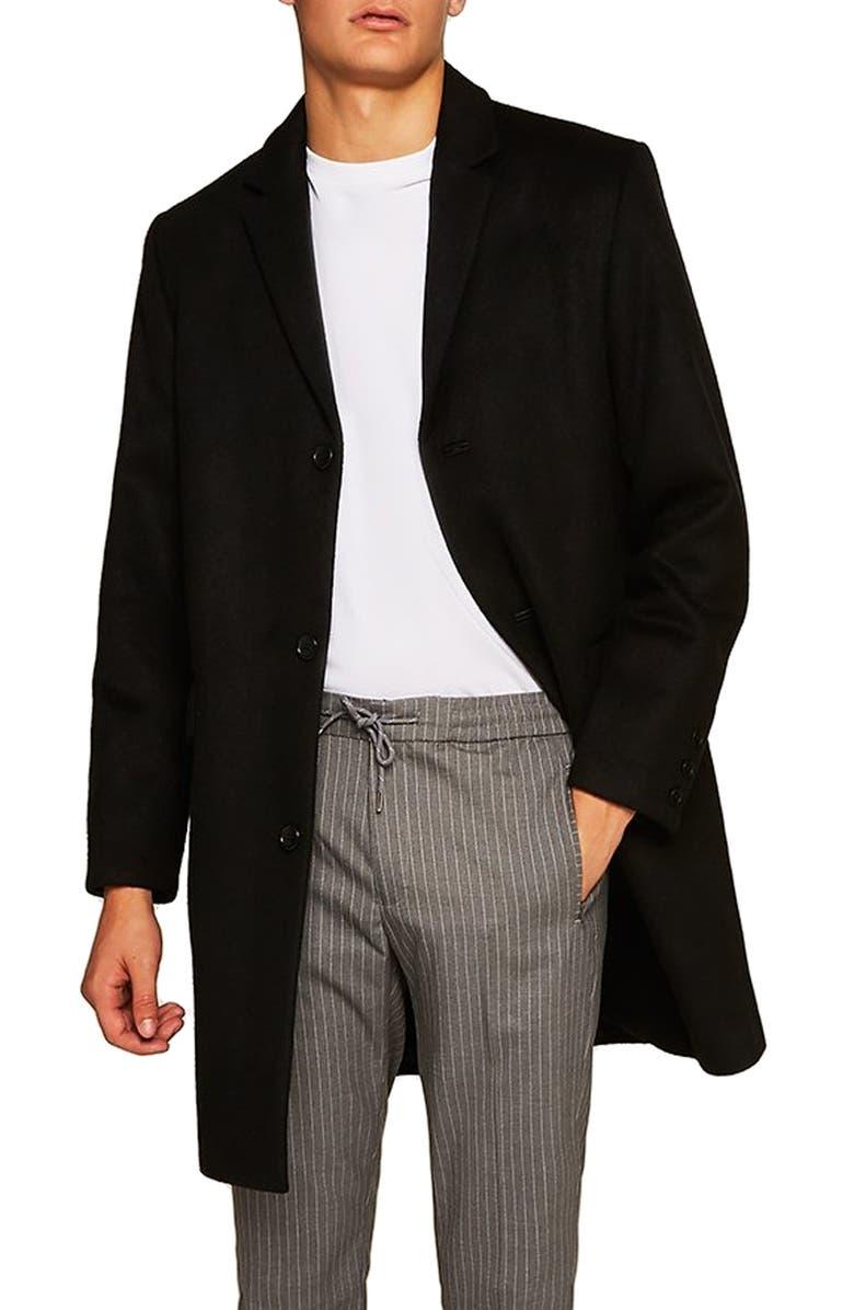 TOPMAN Wool Blend Overcoat, Main, color, 001