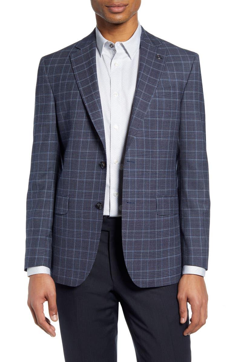 TED BAKER LONDON Jay Trim Fit Plaid Wool Sport Coat, Main, color, BLUE